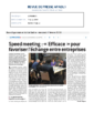 2018 02 07 – LE PROGRES – SPEED MEETING EFFICACE POUR FAVORISER L'ECHANGE EN ENTREPRISES